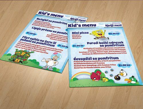 Dizajn jelovnika Primorje kids Menu