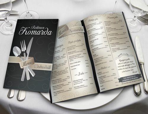Dizajn jelovnika za Restoran Komarda